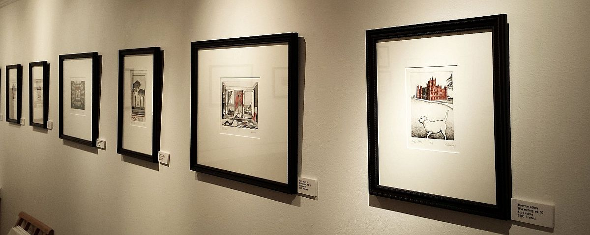 Installation view of black and white images.