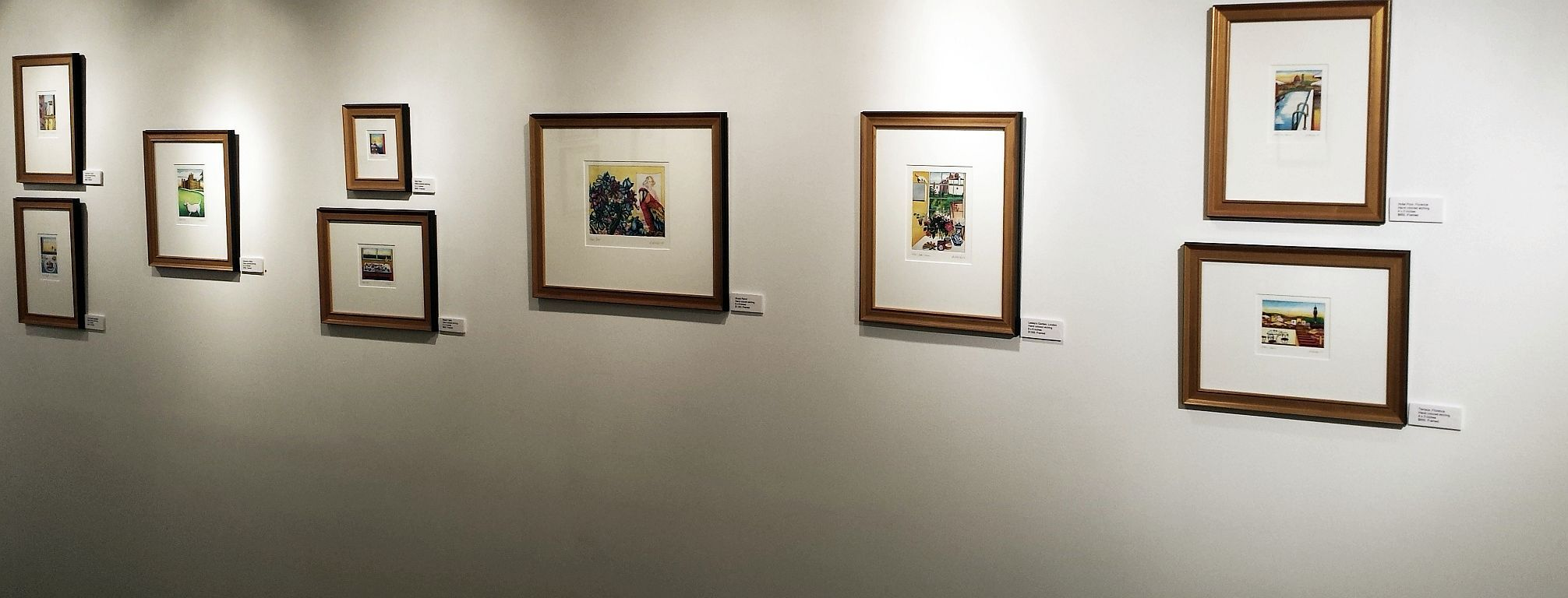 Installation view of hand colored images.