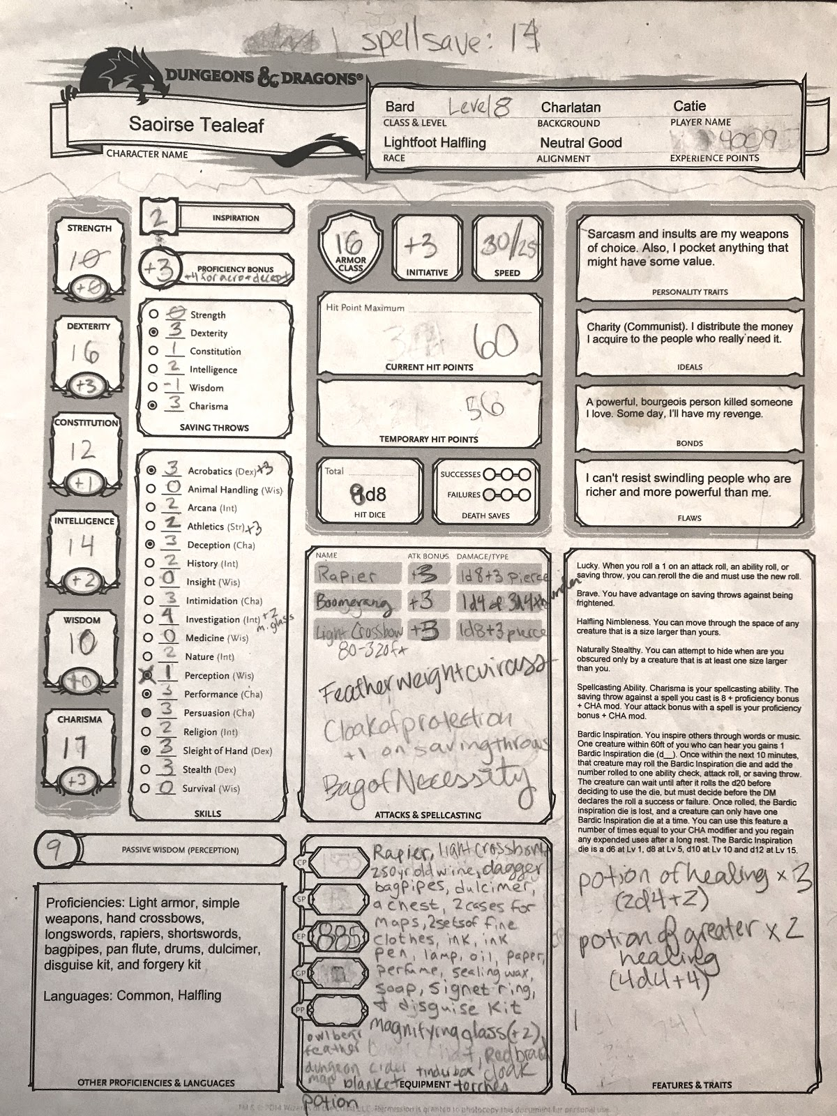 """- The ProblemPaper character sheets can become messy and unorganized over long D&D campaigns, which can result in inaccurate data and a confusing leveling up experience for players.My ObjectiveCreate a digital character sheet app that streamlines character management while preserving the analog """"spirit"""" of tabletop roleplaying games."""