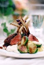 Plated Sit Down Dinner: Herb roasted lamb chops, brussel sprouts on bed of pureed local cauliflower.