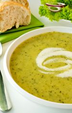 Local zucchini soup with creme fraiche swirl.