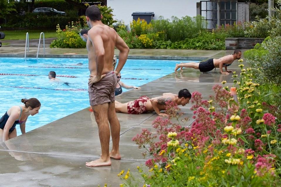 Last year's swimming, push ups, box jump workout at the Letzi Freibad