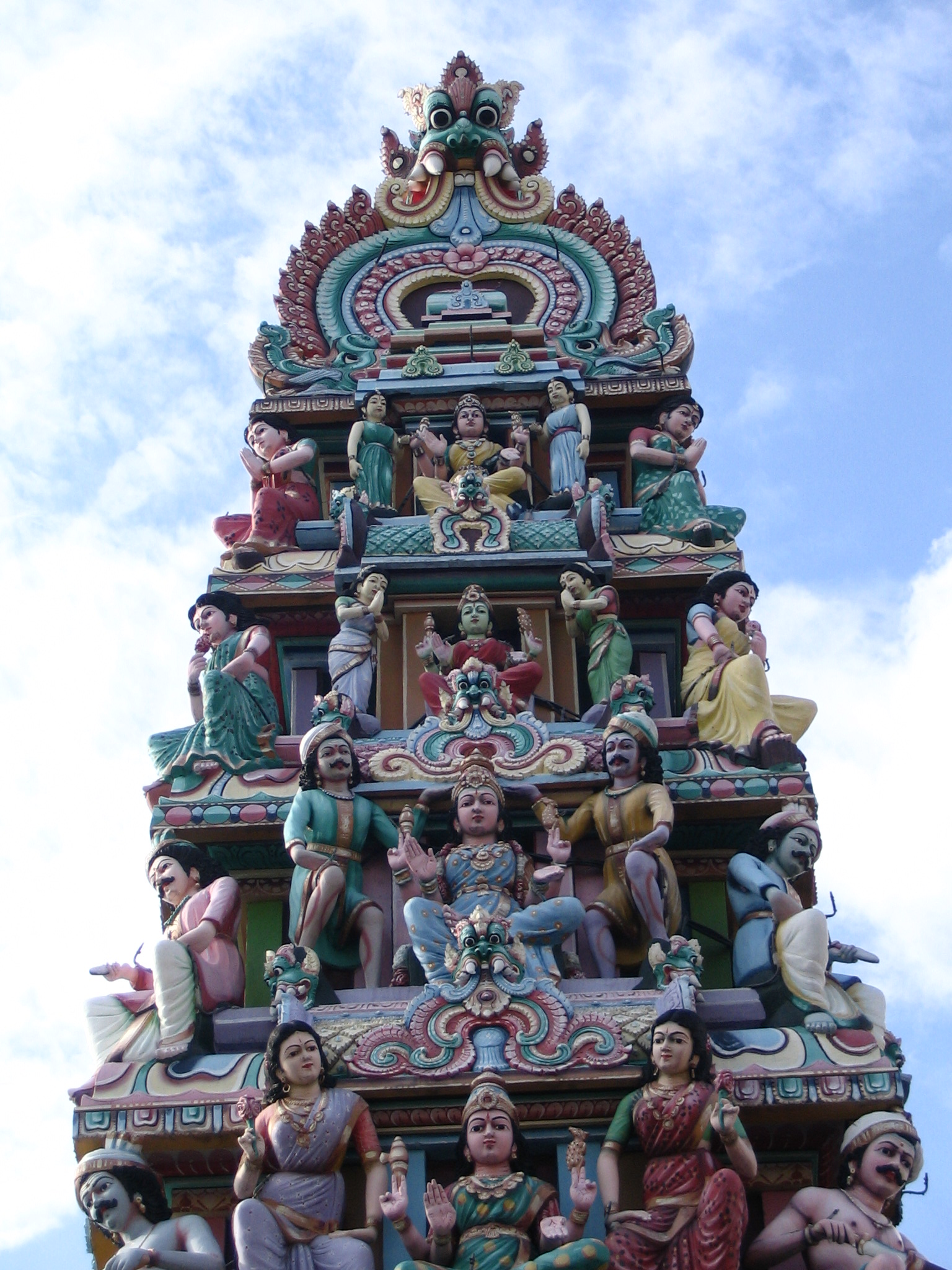 The top of a Hindu temple