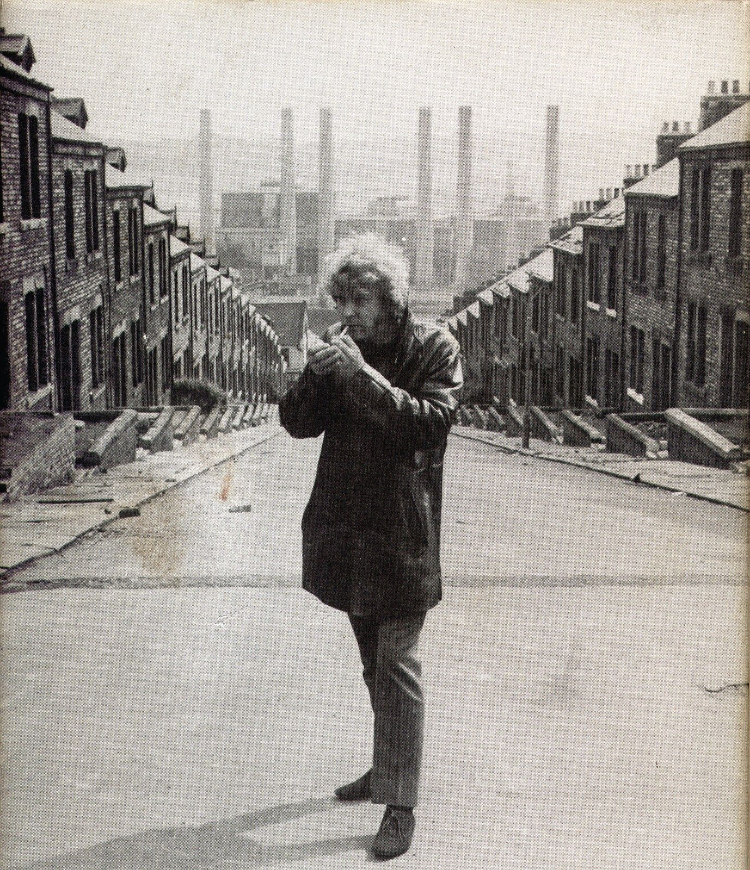 Ted Lewis by worker's homes in Newcastle. The buildings are part of an iconic shot from Mike Hodges 1971 film adaptation of  Get Carter .