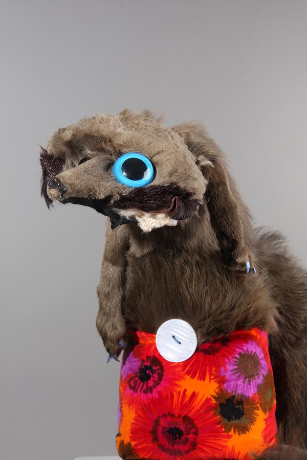 Untitled 12 , 47cm height, vintage fox stole, vintage velvet, button, found eye, 2014