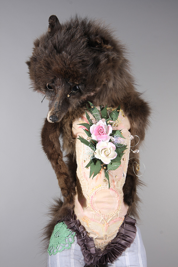 Untitled 17 , 57cm height, vintage fox stole, cotton, vintage ribbon, adapted vintage crochet, wire, beads, gems, found ceramic, 2014.