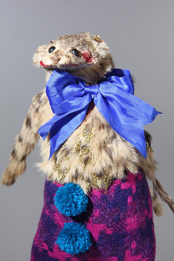 Untitled 8 , 25cm height, vintage wildcat pelt, vintage woolen textile, silk ribbon, vintage glitter, wool 2014