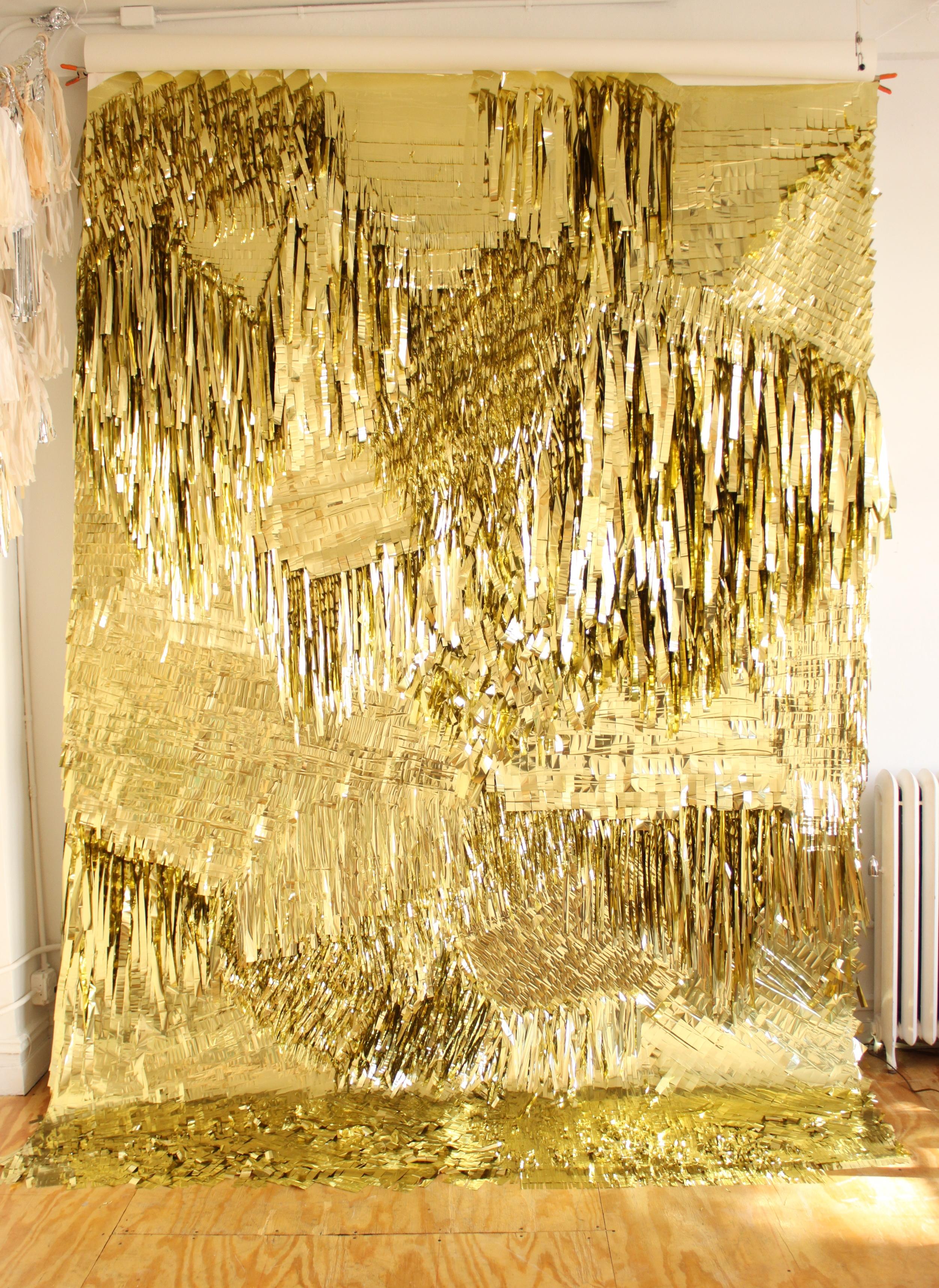 Gold Wall, 2010 CONFETTISYSTEM,Metallic foil, canvas Photo: CONFETTISYSTEM