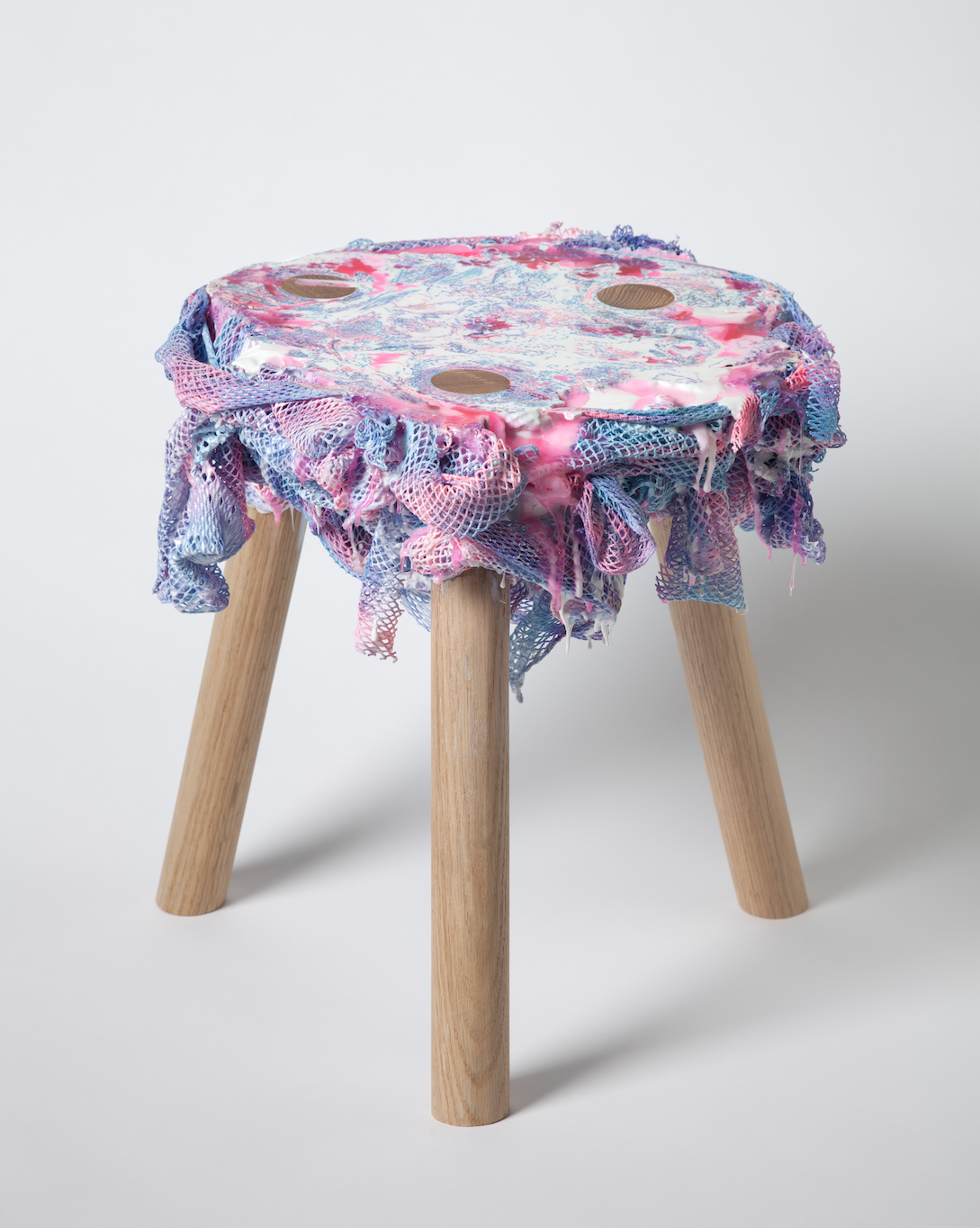 Network (stool), 2011 Chen Chen and Kai Williams.Oak, fabric, urethane resin Photo courtesy of the artists