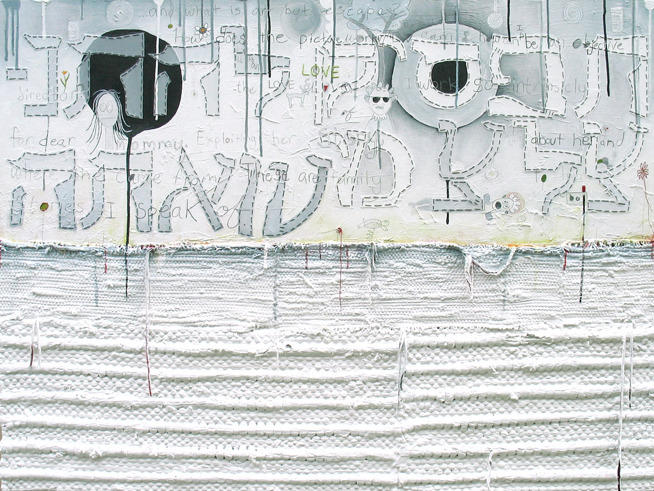 Stop Apologizing for Who You Are, 2008.    Oil, paper patterns, pencil, thread, woven rugs on canvas. 36 x 48 inches. Image courtesy of the artist.