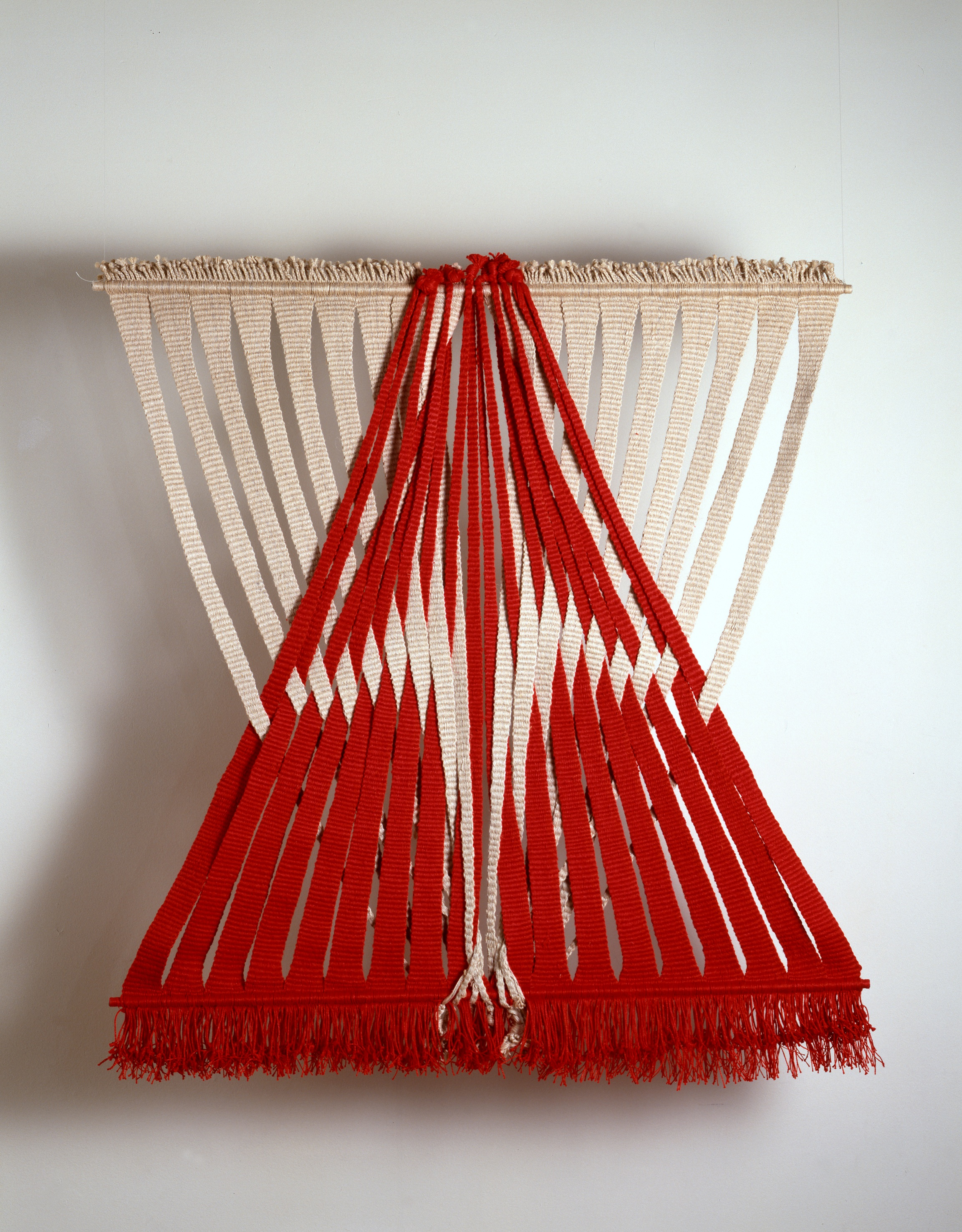 Lenore Tawney,  Union of Water and Fire , 1974, Linen, 38 x 36 inches. Collection of Lenore G. Tawney Foundation.