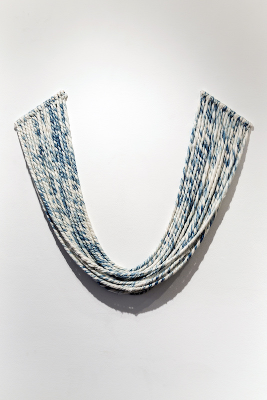 Indigo Cotton Roving, cotton, indigo, wood, 48' x 48', dimensions variable, 2013, photo credit: Maria Minnelli