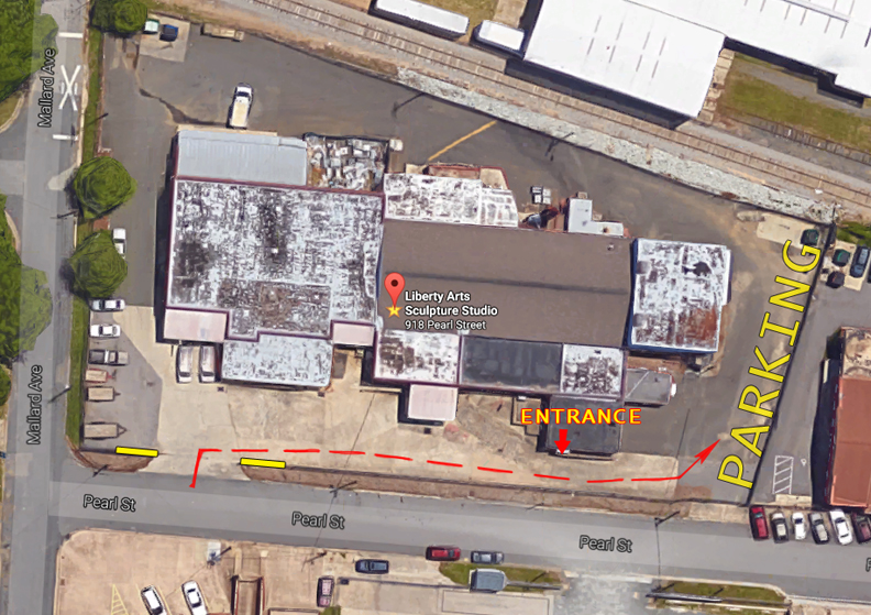 Liberty Arts Sculpture Studio is now located at 918 Pearl St. (Durham NC 27701), in what used to be the Triangle Brewing Co. brewery. Please enter through the yellow gate on the Pearl St. side, immediately turn right and follow the fence to the corner of the building. Please park anywhere along the back fence line.
