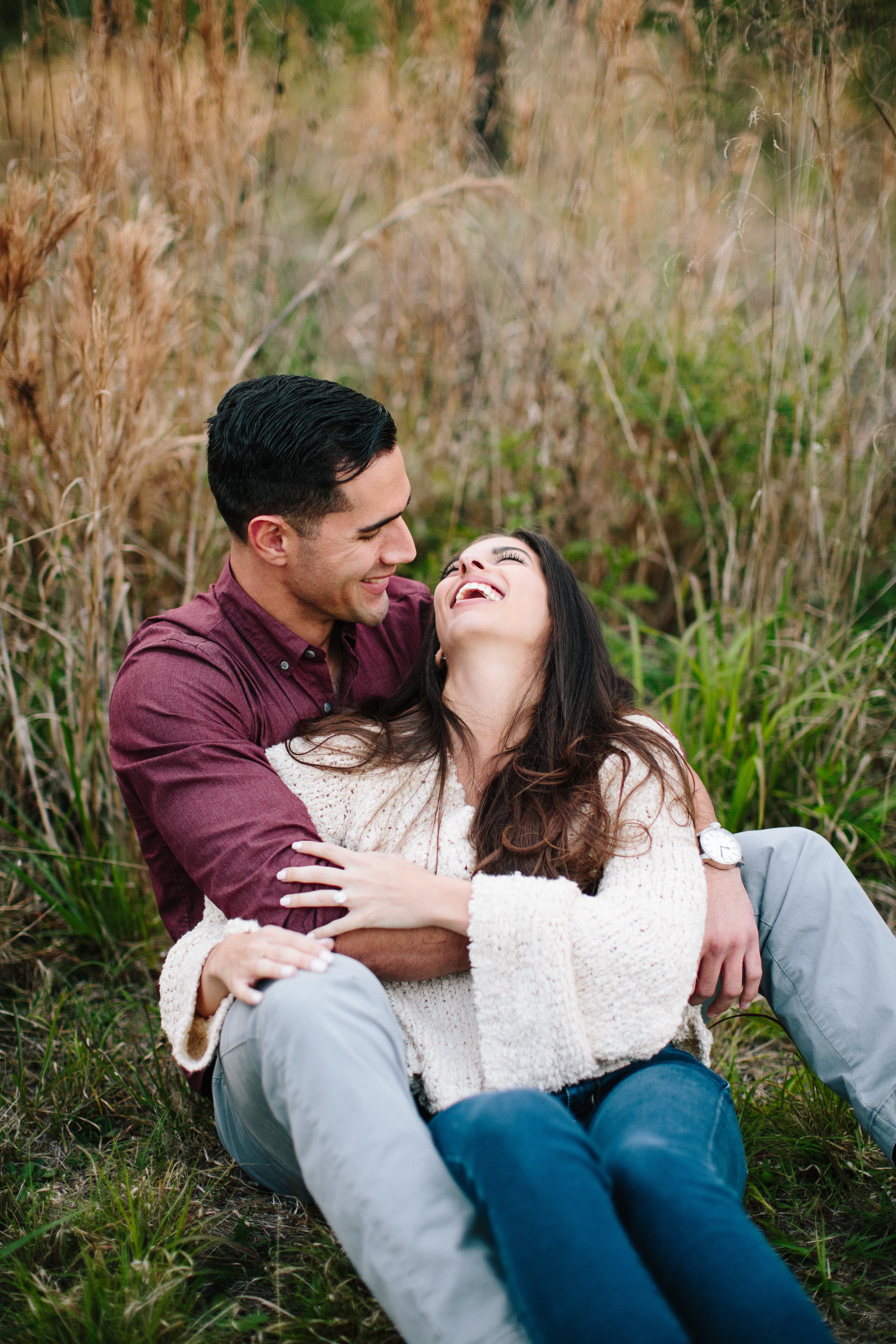 couple laughing engagement session