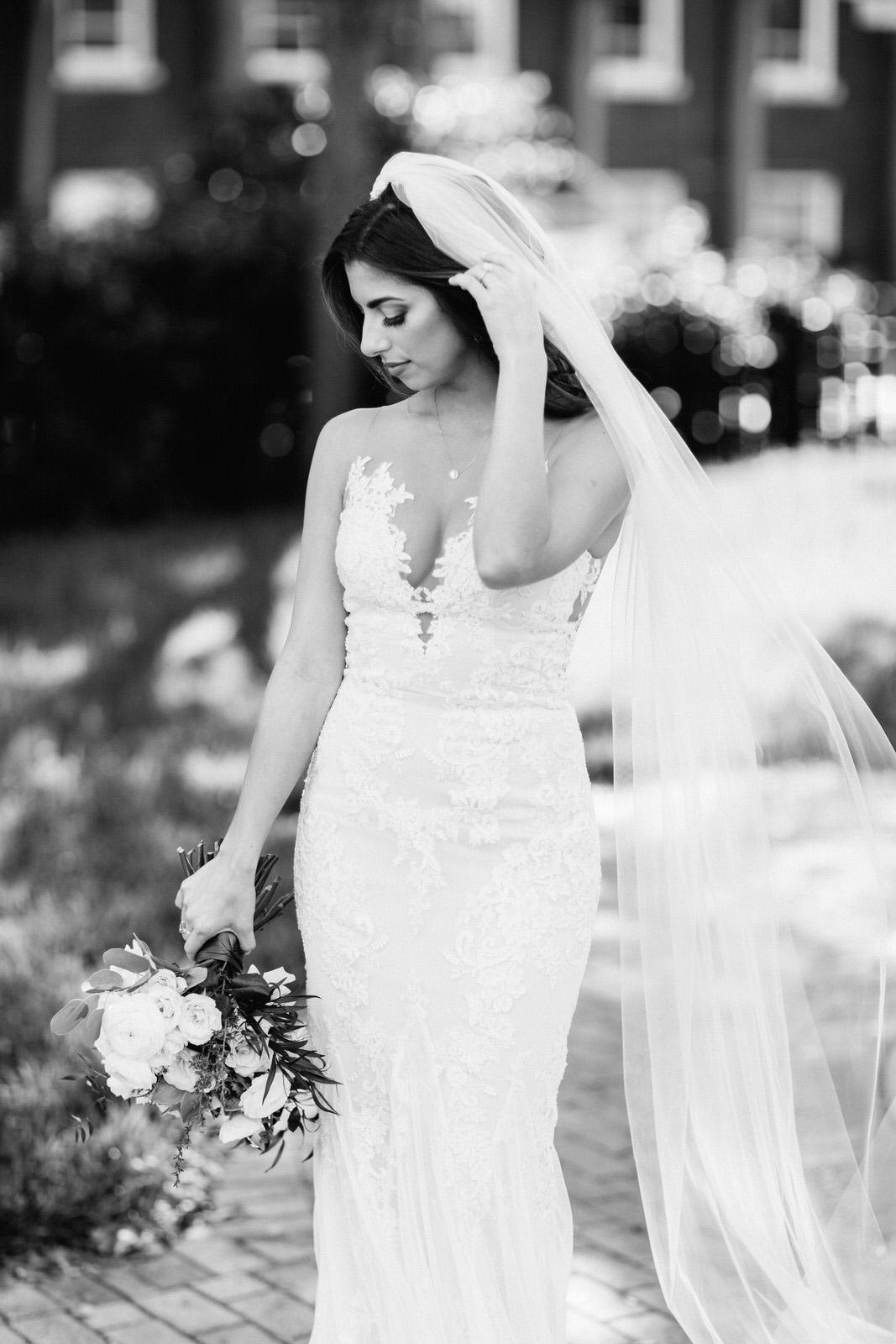 Black and white bride photos