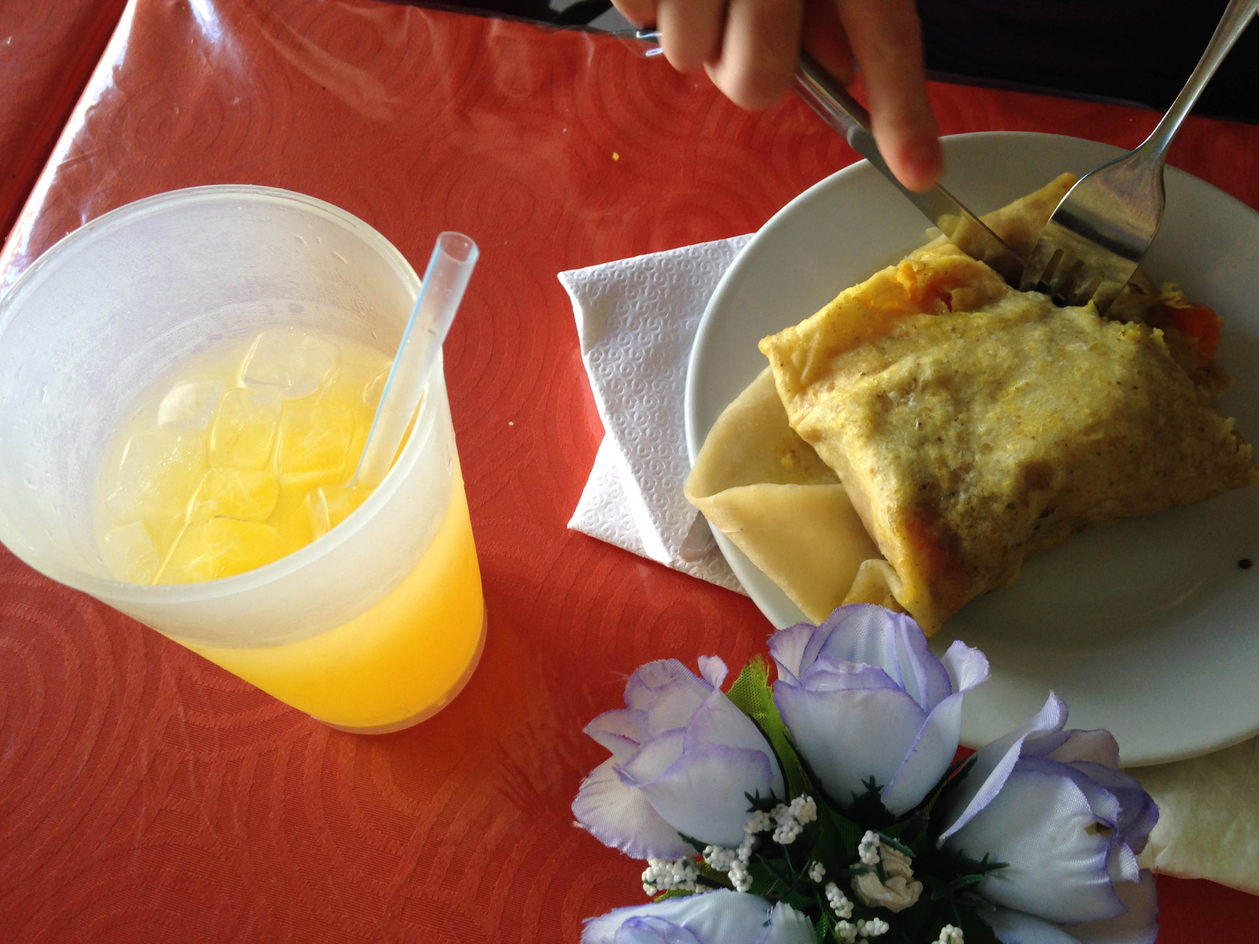 Mauby ( anise flavored drink , madefrom tree bark ) & Roti