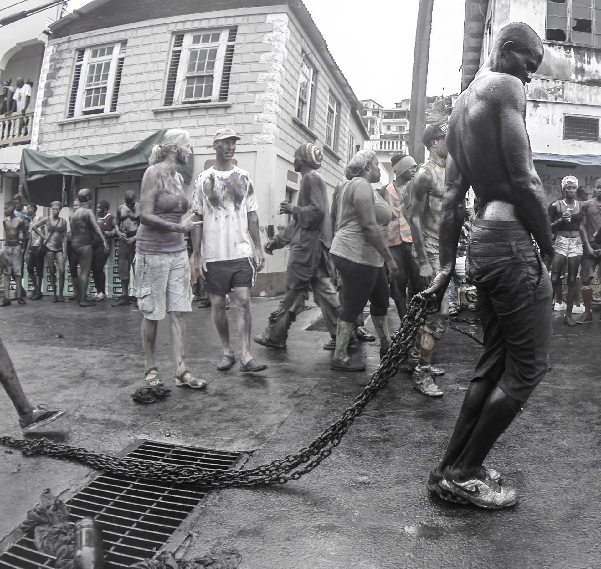 Many player held chains, representing enslavement- Video Still, Tom Miller