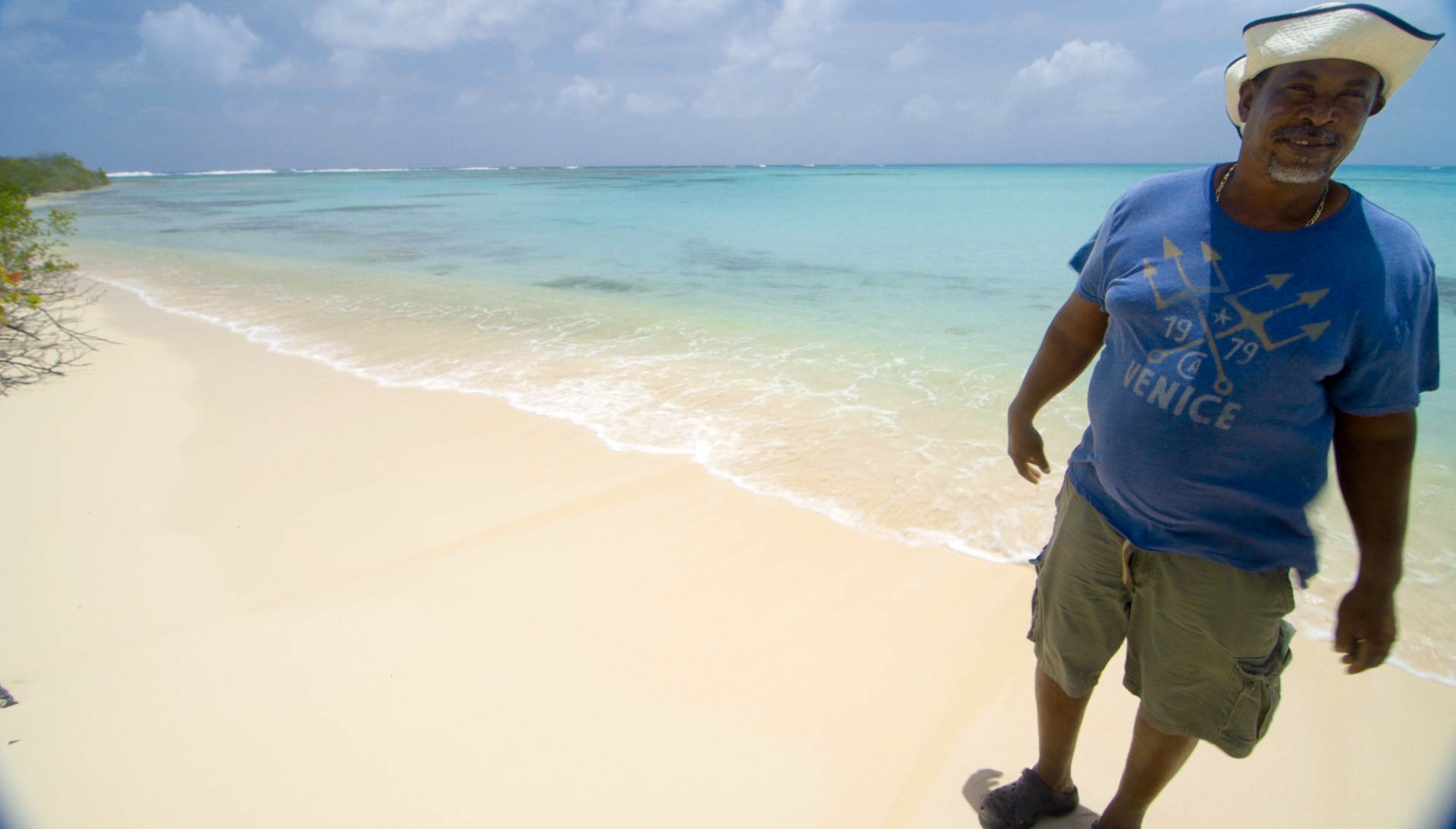Henry Griffin at White Bay, Barbuda.