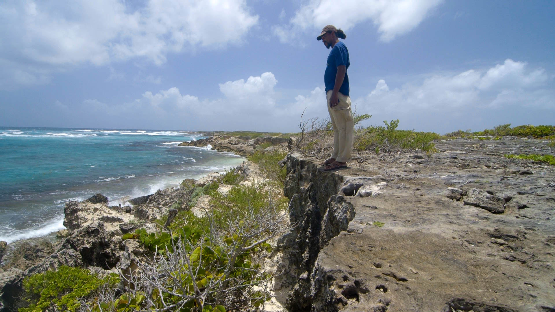 Zander, standing on the limestone cliff, Spanish Point - Video Still, Tom Miller