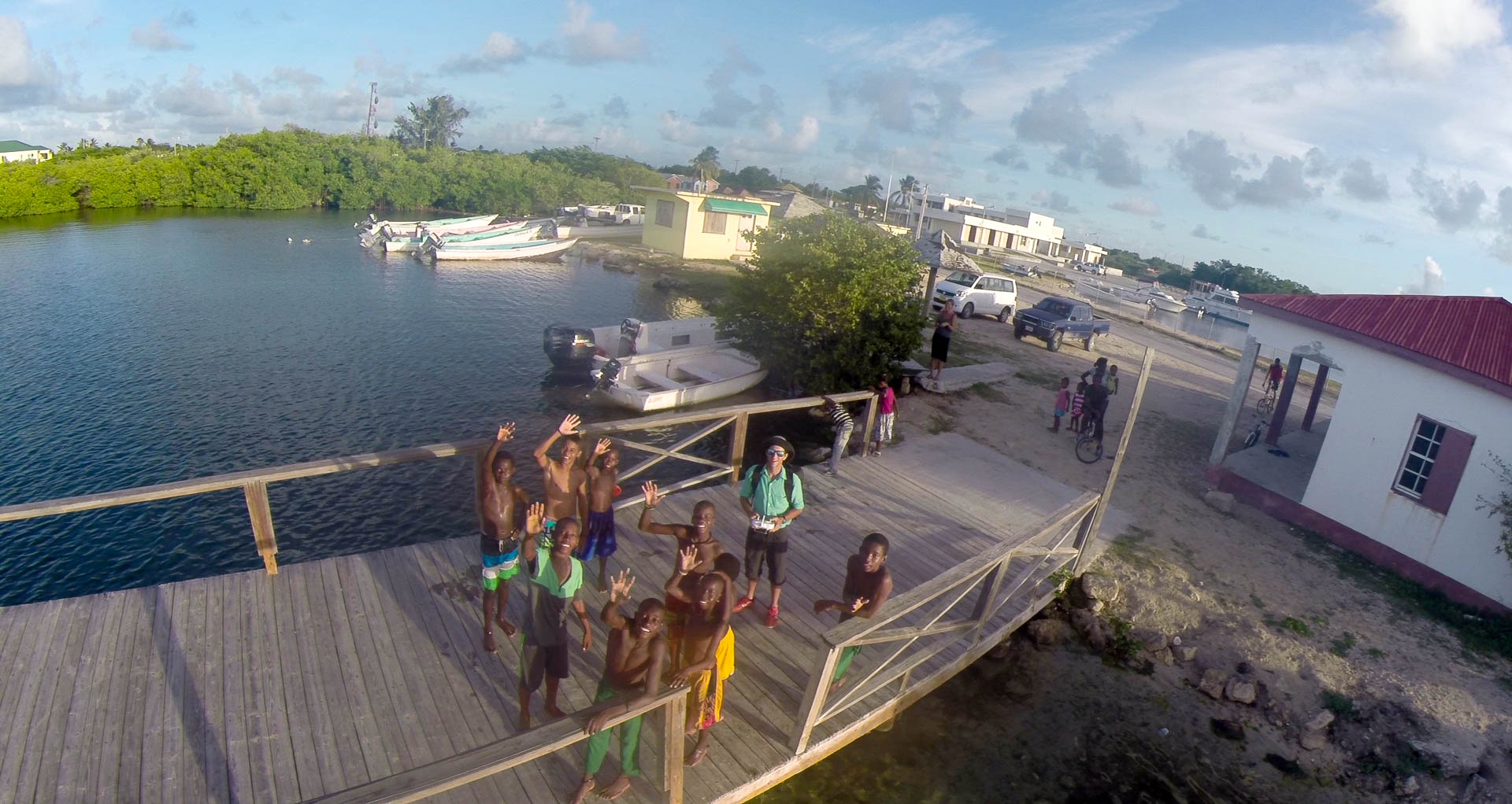 Kids and Tom at Dock, Codrington