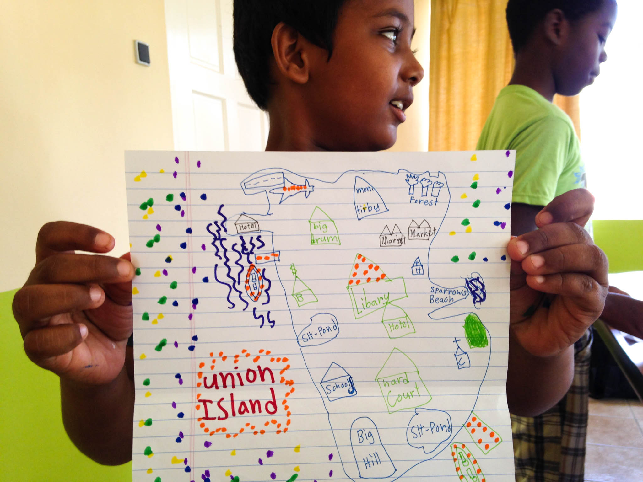 Stanislaus Gomes completing a community mapping exercise, Union Island low-cost film workshop - Photo, Tom Miller