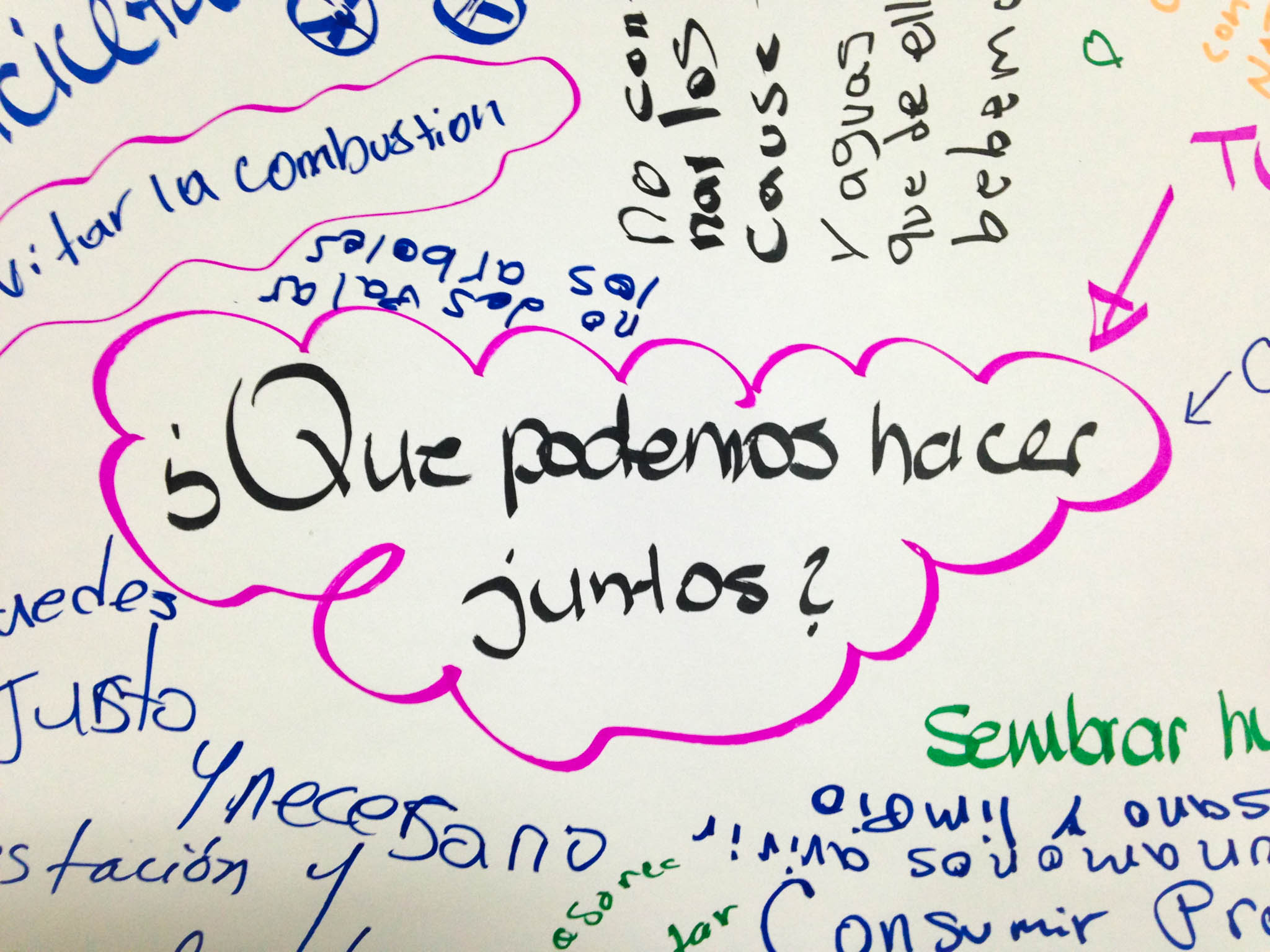 """Que podemos hacer juntos""? What can we do together? Sign at the People's Climate March Bluefields event - photo, Tom Miller"