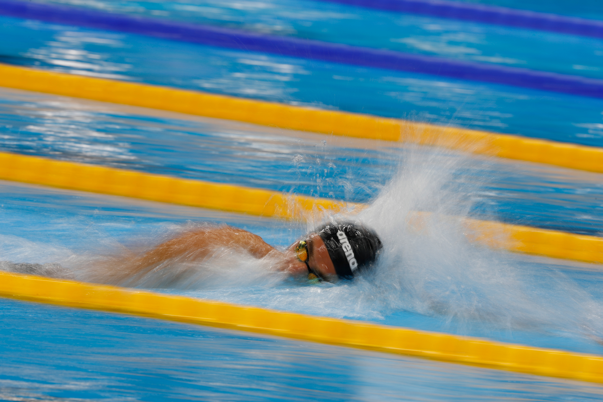 Gregorio Paltrinieri of Italy competes and wins the gold medal in the men's 15000m freestyle at the Olympic Aquatics Stadium at the 2016 Rio Summer Olympics in Rio de Janeiro, Brazil, on August 13, 2016.