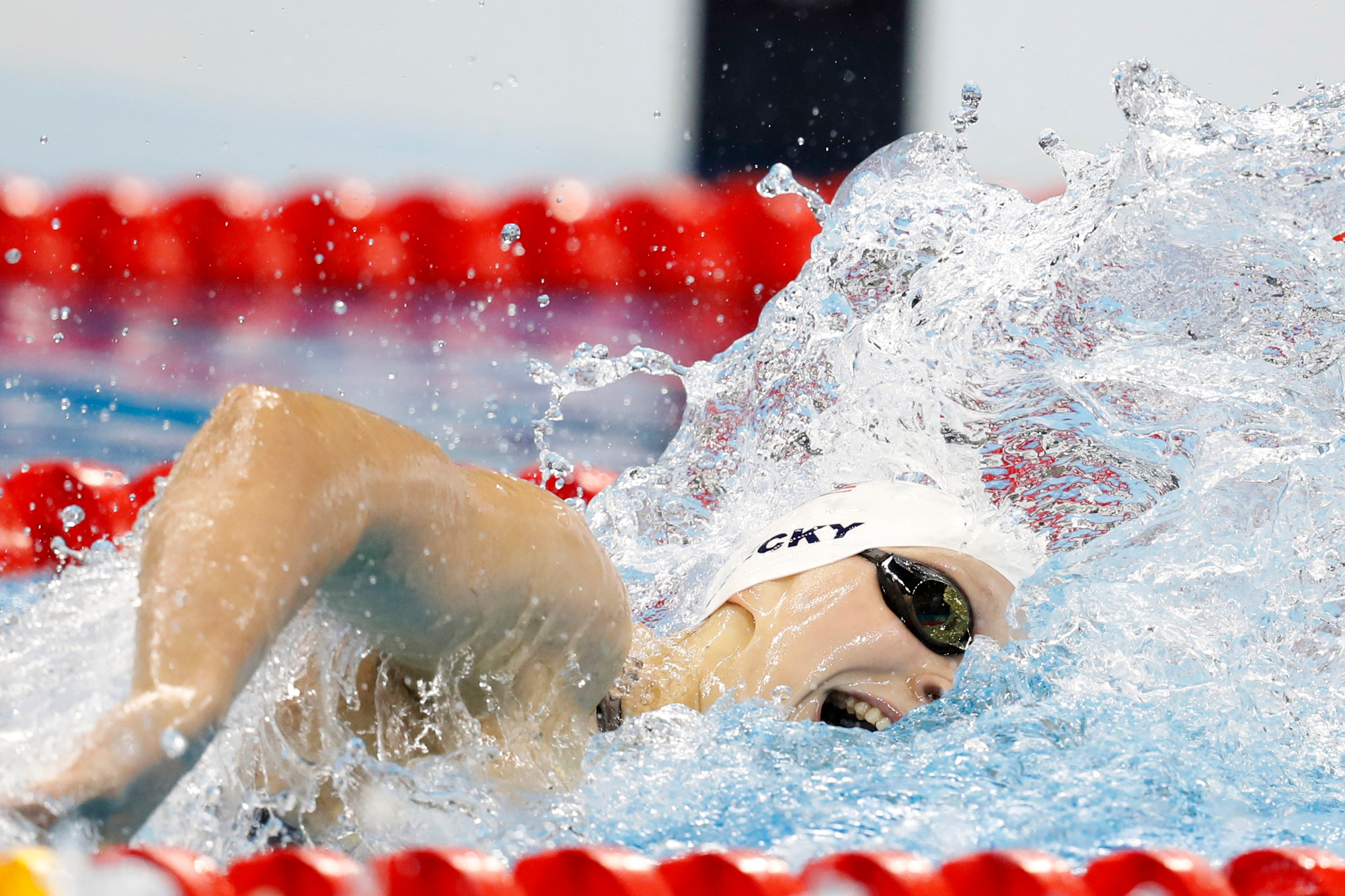America's Katie Ledecky competes in the fifth heat of the Women's 200M Freestyle at the Olympic Aquatics Stadium at the 2016 Rio Summer Olympics in Rio de Janeiro, Brazil, on August 8, 2016. Ledecky finished first with a time of 1:55.01.