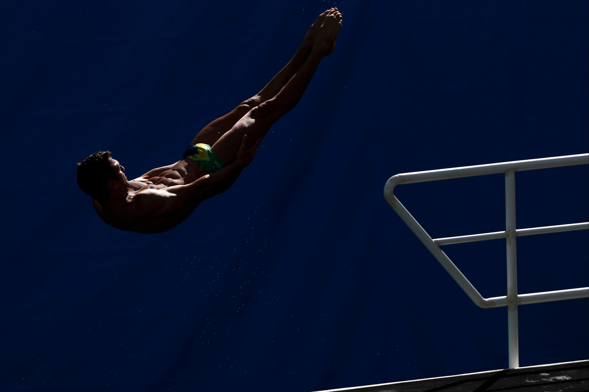 Brazil's Hugo Parisi takes practice at the Maria Lenk Aquatic Center at 2016 Rio Summer Olympics in Rio de Janeiro, Brazil, on August 13, 2016.