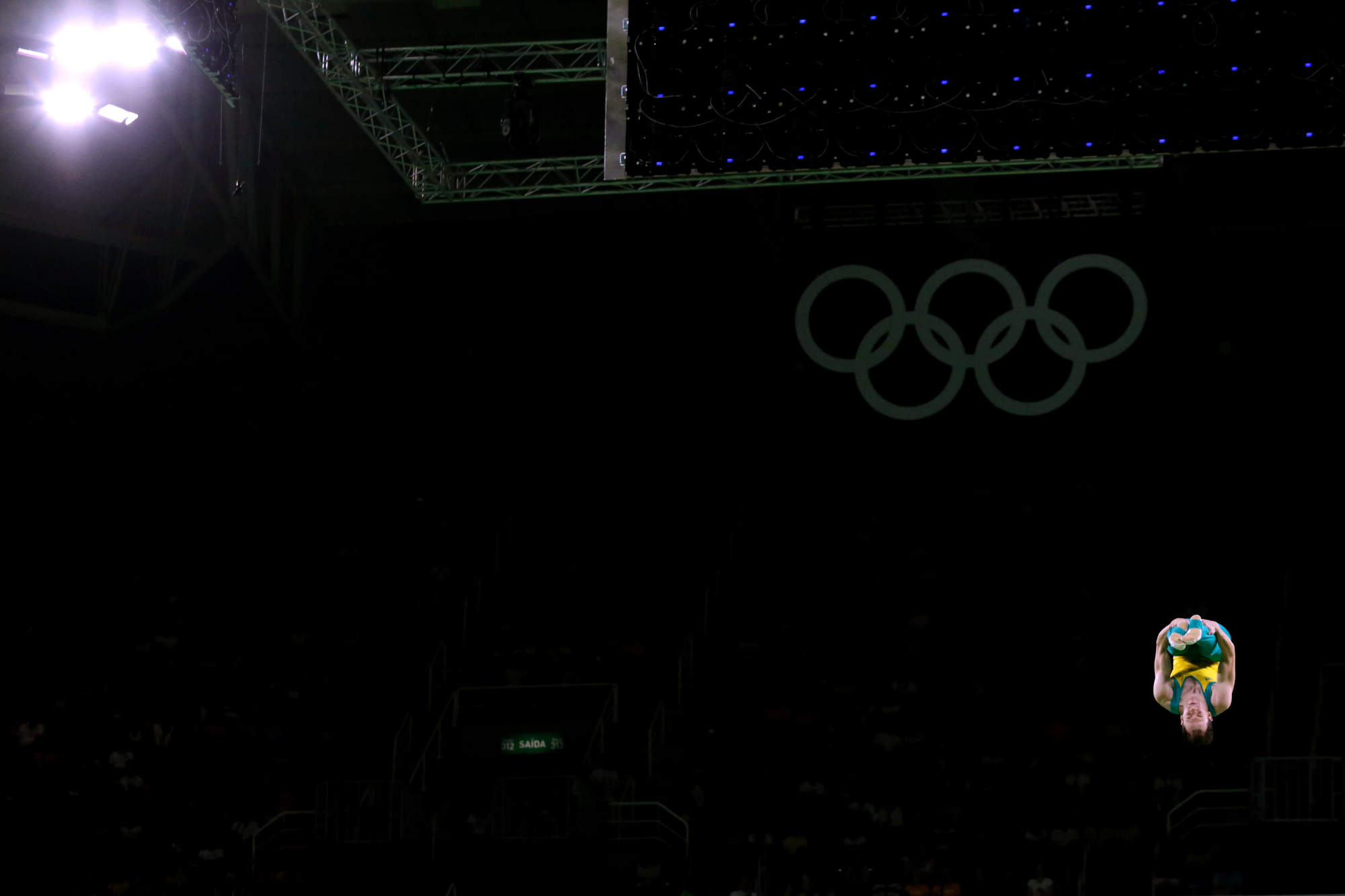 Australia's Blake Gaudry competes in the qualifying round of Men's Trampoline Gymnastics in the Rio Olympic Stadium at the 2016 Rio Summer Olympics in Rio de Janeiro, Brazil, on August 13, 2016.