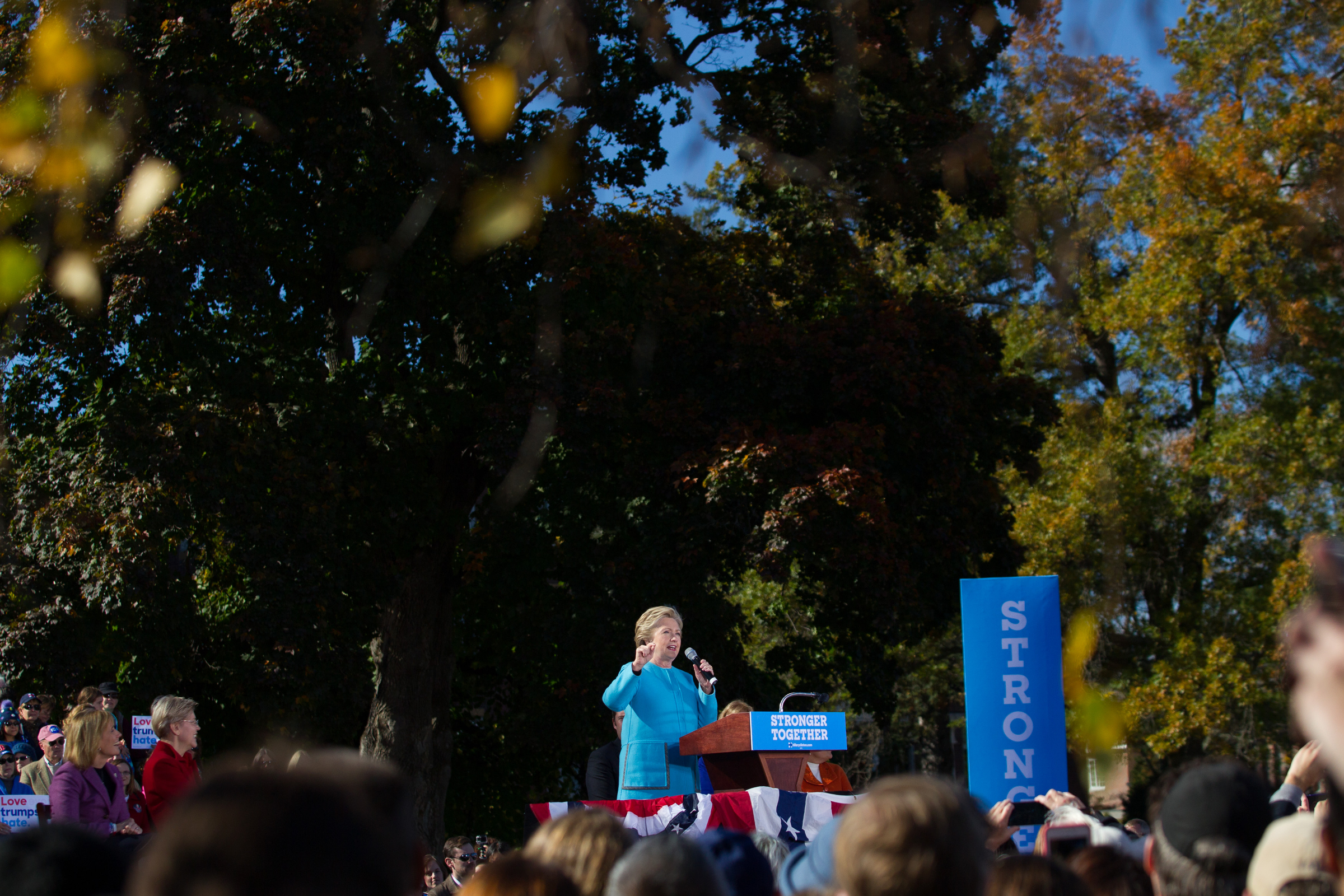 Democratic presidential nominee Hillary Clinton speaks at a campaign rally at Saint Anselm College in Goffstown, New Hampshire on October 24, 2016.