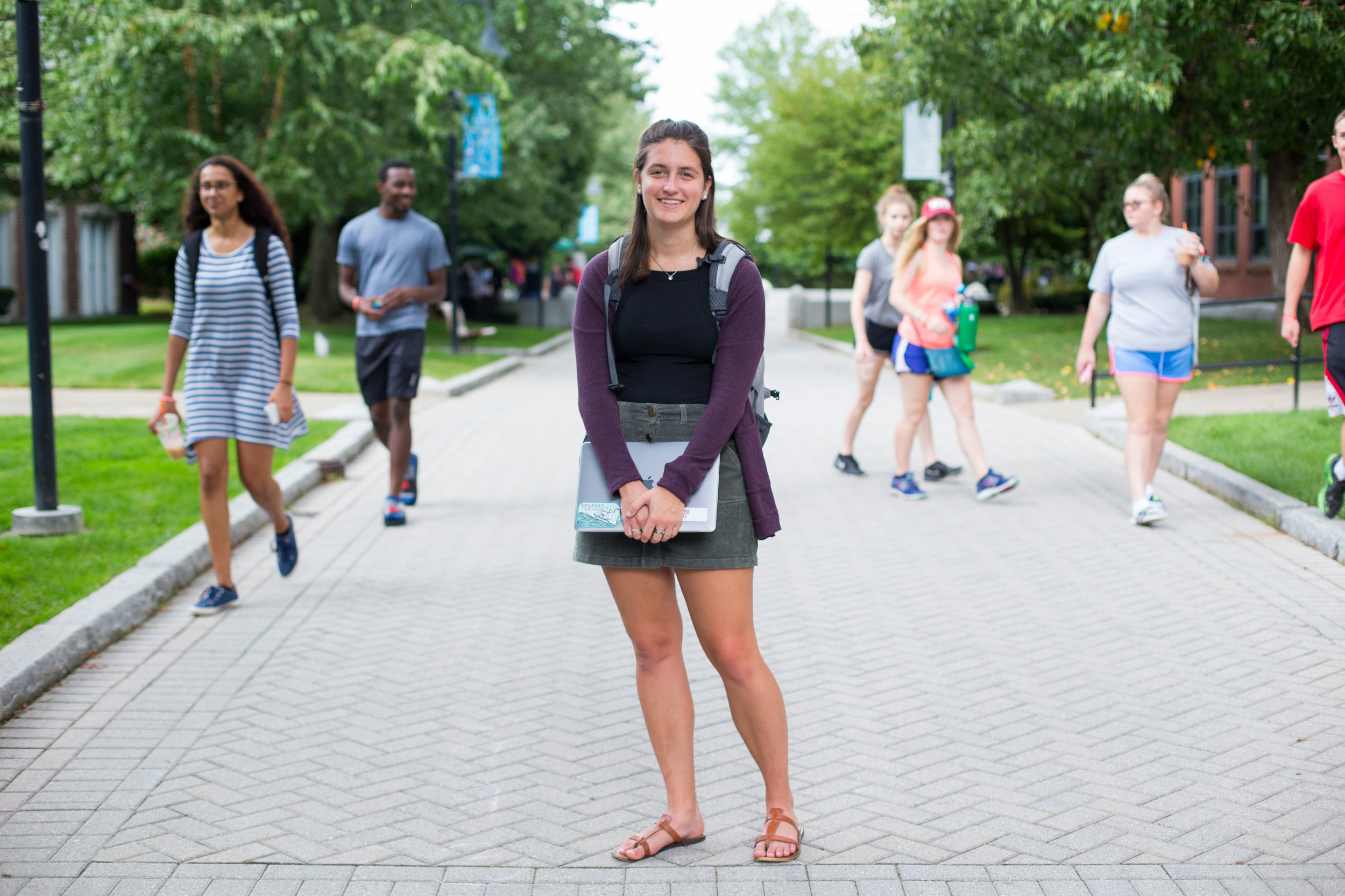 Michelle Santacreu, a freshman at Worcester Polytechnic Institute, poses for a photo on the school's campus in Worcester, Massachusetts on September 15, 2017. Santacreu who intends to major in computer science, is one of the many women at the school who are helping close the gender gap that is found in STEM programs.
