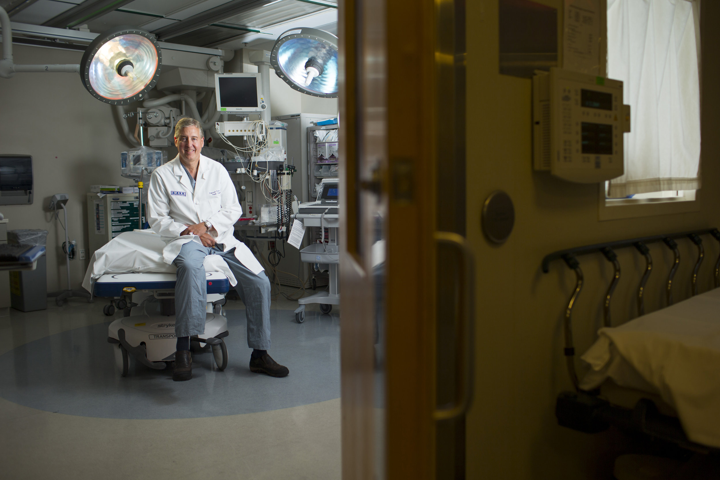 Raymond M. Dunn, MD, Professor and Chief, UMass Memorial Plastic Surgery, is photographed in one of the trauma unit bays at UMass Memorial Hospital in Worcester, Massachusetts on July 28, 2017.