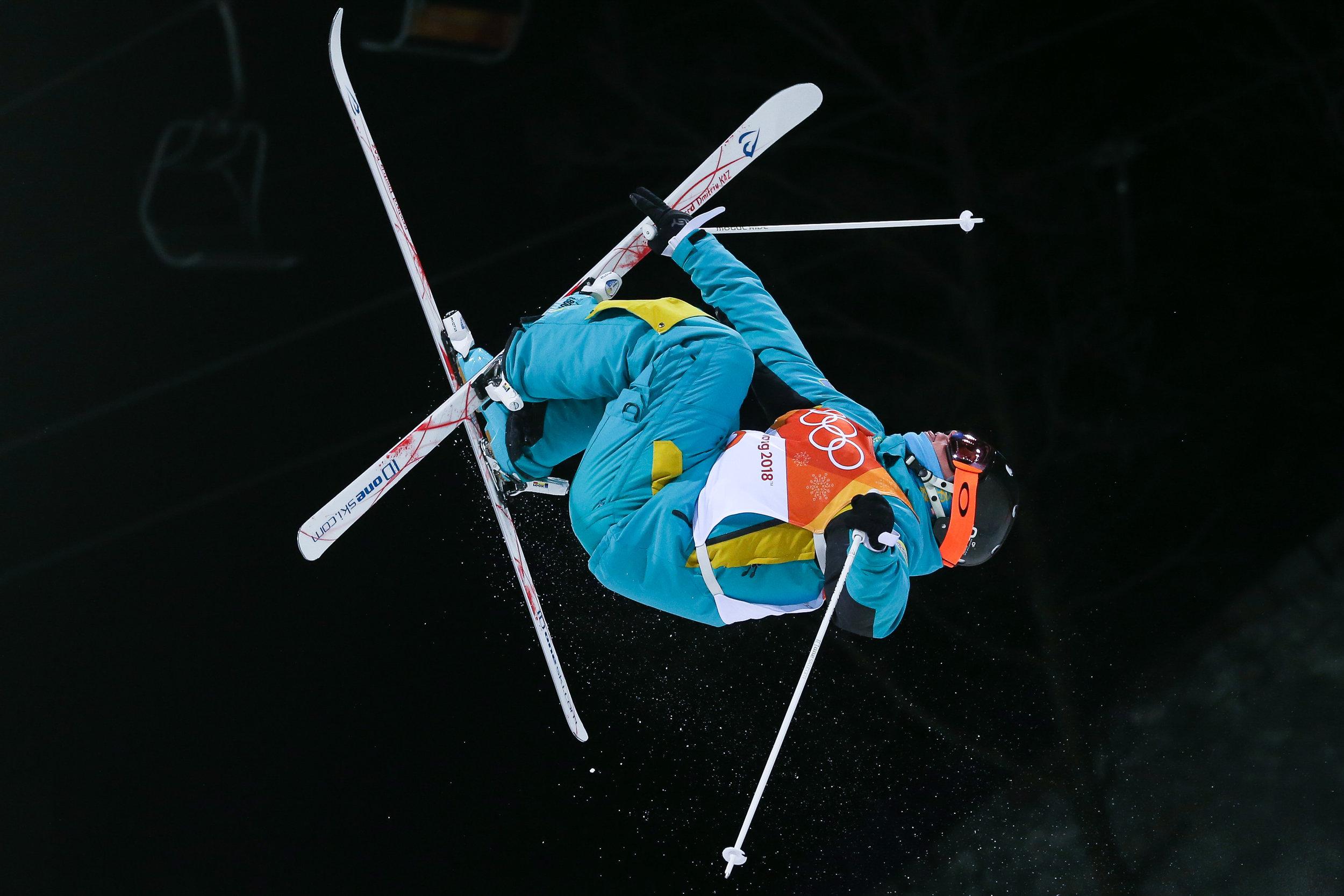 Kazakstan's Dmitriy Reikherd hits the last jump in the Men's Moguls finals on day three of the 2018 Pyeongchang Winter Olympics at Phoenix Snow Park in Pyeongchang, South Korea, on February 12, 2018. Photo by Matthew Healey/UPI