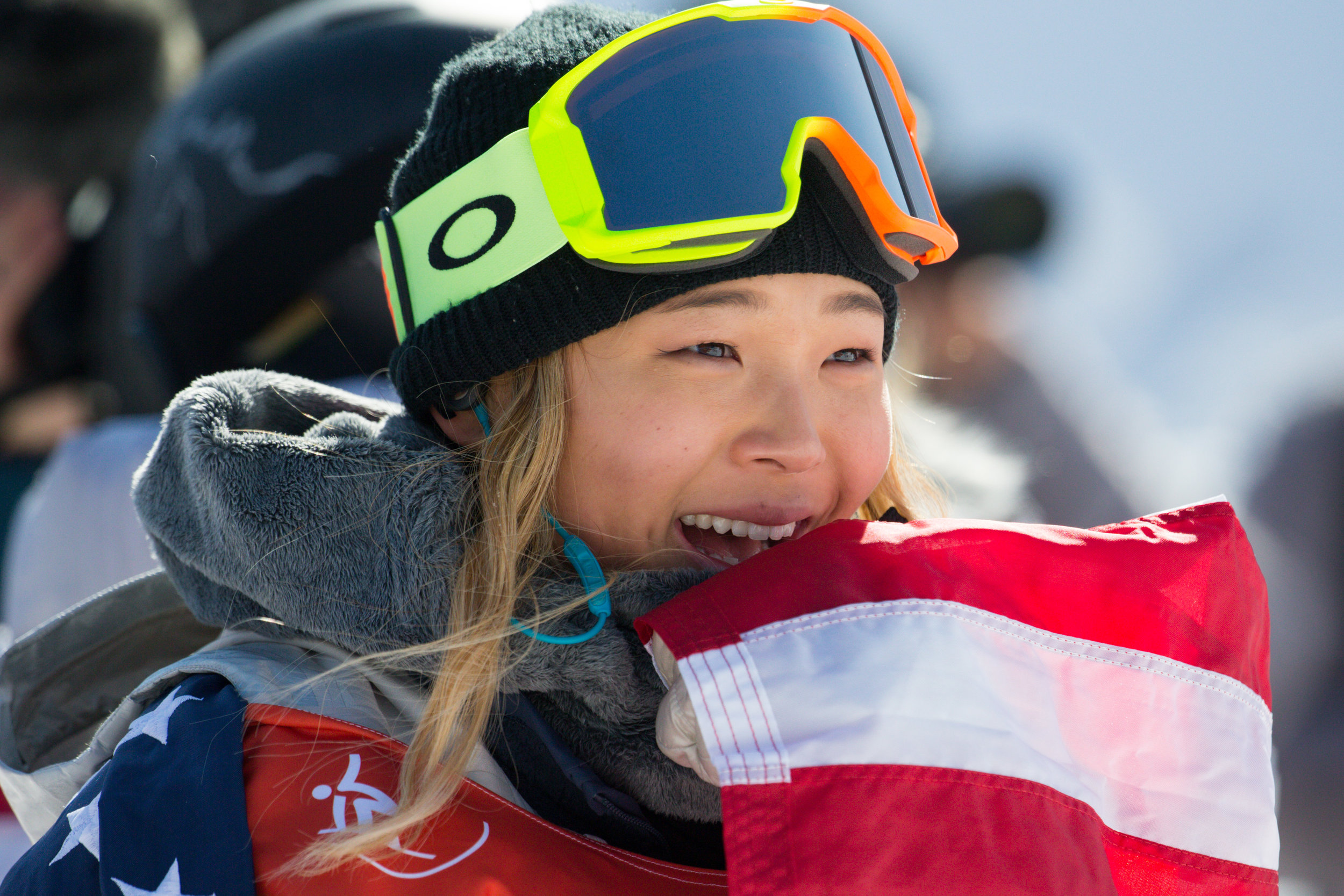 Chloe Kim of the United States celebrates after winning gold in the Ladies' Halfpipe finals at the 2018 Pyeongchang Winter Olympics at Phoenix Snow Park in Pyeongchang, South Korea, on February 13, 2018. Kim took gold in the event with a score of 98.25 . Photo by Matthew Healey/UPI