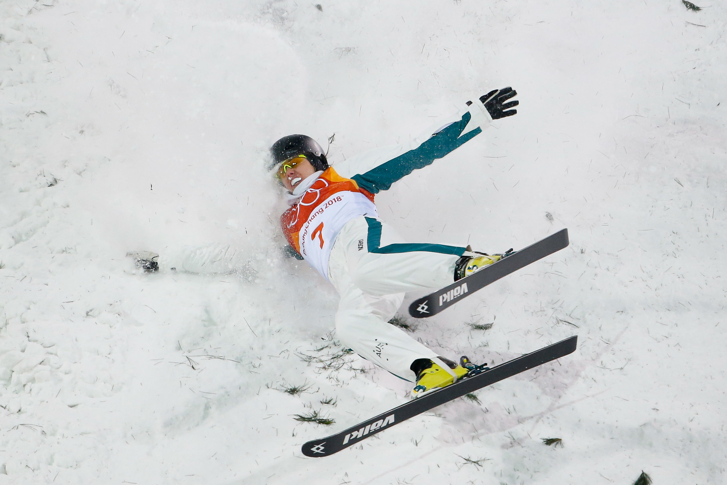 Laura Peel of Australia crashes on the landing while competing in the Ladies' Freestyle Skiing Aerials final at Phoenix Snow Park in Pyeongchang, South Korea on February 16, 2018.  Photo by Matthew Healey/UPI