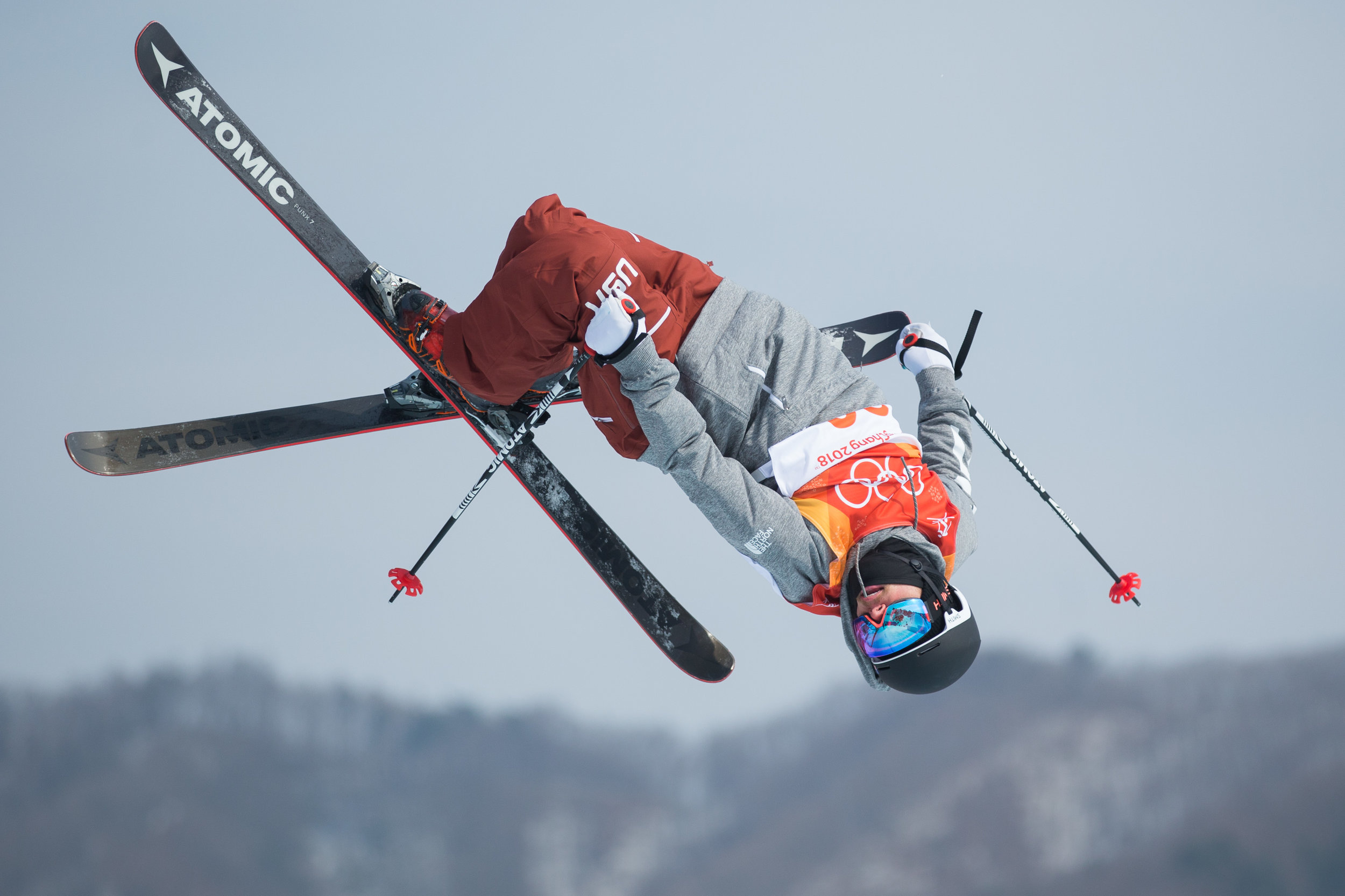 Gus Kenworthy of the United States competes in the Men's Freestyle Skiing Slopestyle final at Phoenix Snow Park in Pyeongchang, South Korea on February 18, 2018. Photo by Matthew Healey/UPI