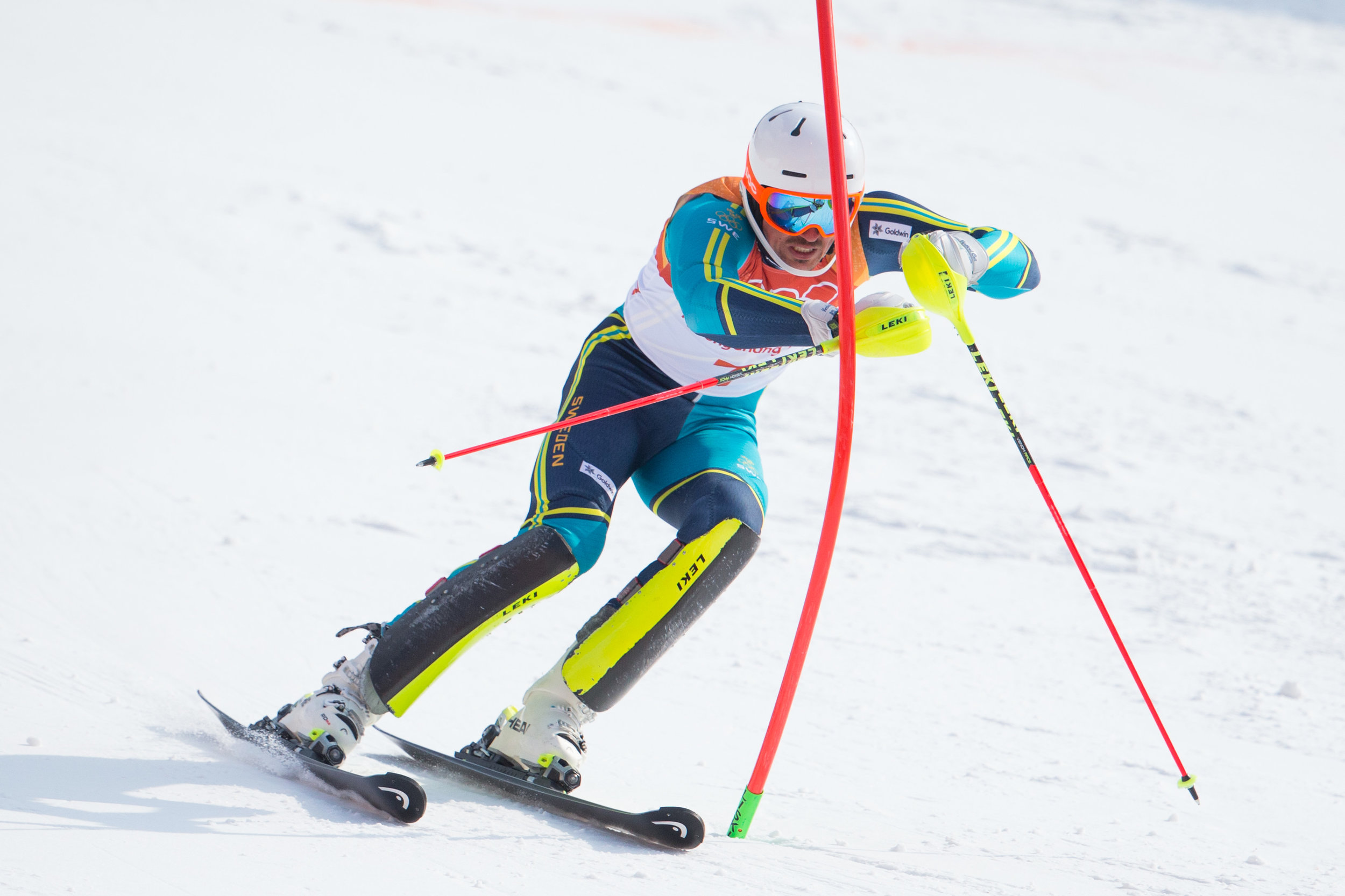 Andre Myhrer of Sweden competes in the second run the Men's Slalom Final at Yongpyong Alpine Centre in Pyeongchang, South Korea on February 22, 2018. Myhrer took gold with a total time of 1:38.99. Photo by Matthew Healey/UPI