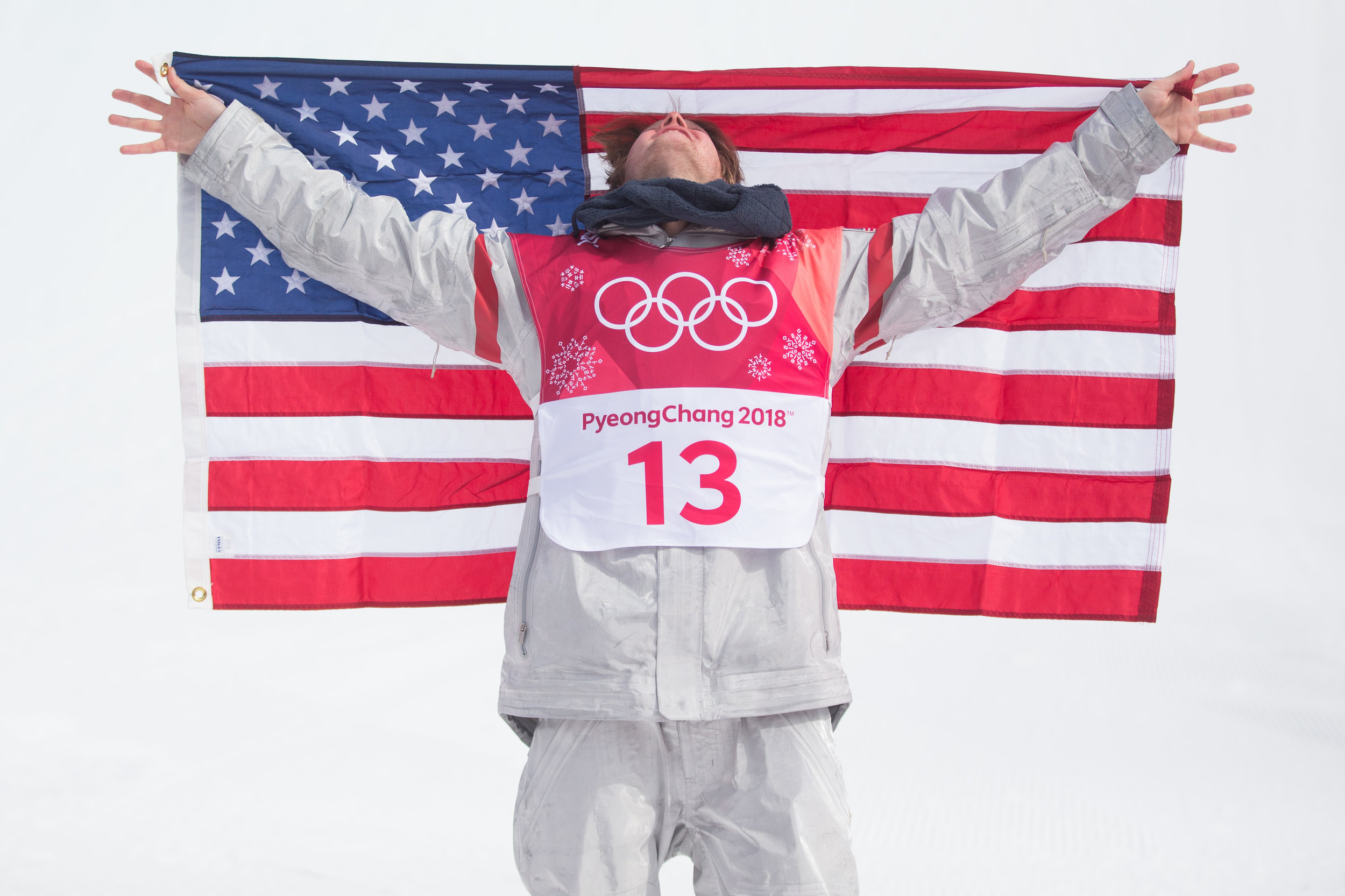 Kyle Mack of the United States celebrates his silver medal in the Men's Big Air Snowboard final in the 2018 Pyeongchang Olympics at the Alpensia Ski Jumping Centre in Pyeongchang, South Korea on February 24, 2018. Photo by Matthew Healey/UPI