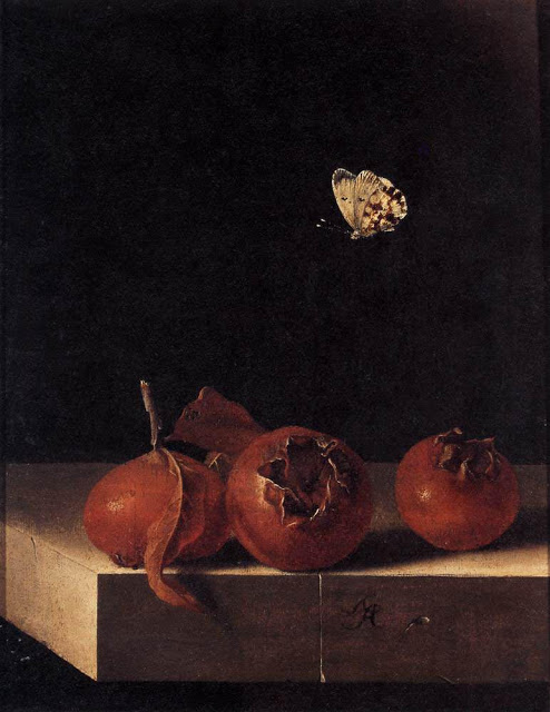 Still Life with Three Medlars and a Butterfly c. 1696-1705 oil on paper,Adriaen Corte private collection
