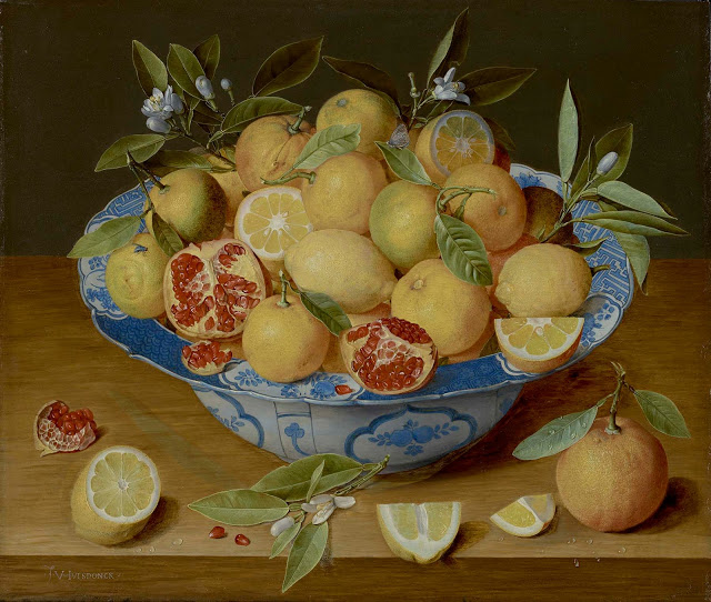Still Life with Lemons, Oranges and Pomegranate c. 1620-40 - oil on panel Jacob van Hulsdonck; The J Paul Getty Museum, Los Angeles; image Getty's Open Content Program