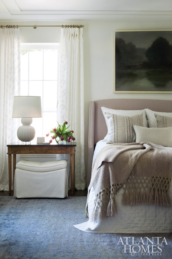 I like my bedrooms to be in a soothing palette - delighted to finally see some color, albeit muted here;again texture is key and amply provided by the mohair throw, quilted coverlet, self patterned window sheers and striérug