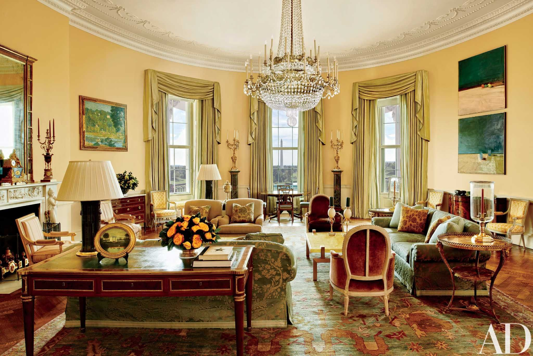 Another view of the Yellow Oval Room highlighting the beautiful desk upon which the Camp David peace accords of 1978 were signed. While the decor is formal the greens, rust and yellows picked up from the exquisite Oushak rug make this a very gracious and inviting sitting room