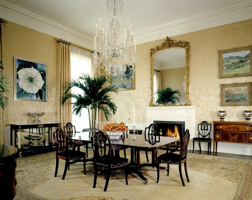 The Bush Family dining room - furnishings look like a mix of Chippendale, Sheraton and Empire pieces