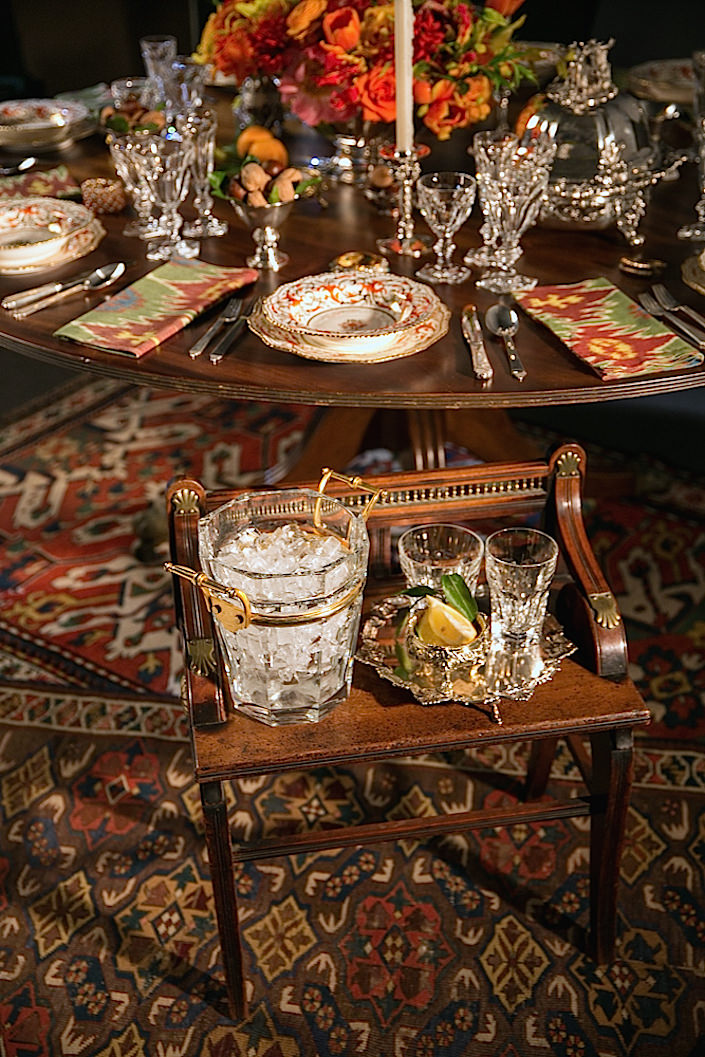 Alex and Stacy re-imagine a small antique bench as table-side bar cart - see what items you may have around your home that can be re-purposed for an added touch of whimsy and originality to your table setting