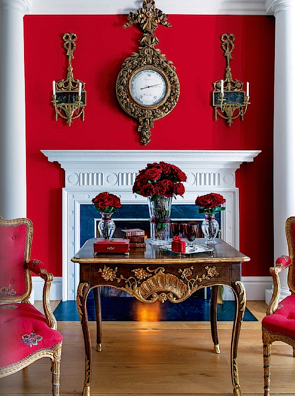 Bringing together traditional red, gold and white color scheme creating a very sophisticated and individualized look