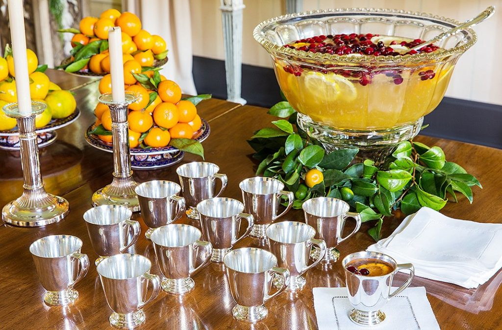 Serving a classic Southern citrus punch from silver goblets adds a touch of formality -Suzanne Rheinstein