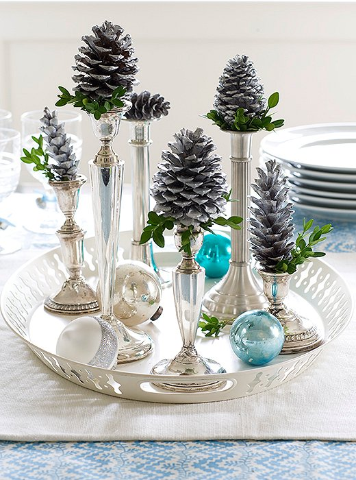 Acorns in a stemmed silver candlestick...who would've thought -I like it!