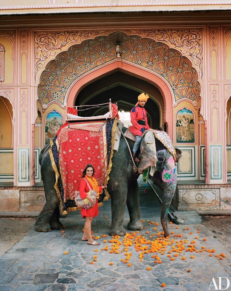 Marie-Anne Oudejans with Rani, the Indian elephant
