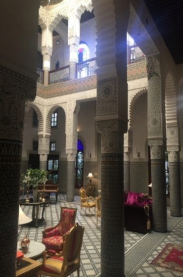 Lobby at the Riad Fez decorated in classic Moroccan style with a little 18th century French thrown in - perfect!